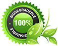 100% biodegradable (emblem seal)