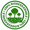 100% BIODEGRADABLE (green carbon cycle, stock stamp)