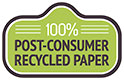 100% POST-CONSUMER RECYCLED PAPER (seal, VectorOpenStock)