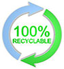 100% RECYCLABLE (2 arrows round)