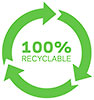 100% RECYCLABLE (3 green arrows wheel)
