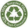 100% Recycled Fiber 30% Post-Consumer