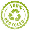 100% RECYCLED (seal stamp)