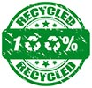 100% recycled (stamp)
