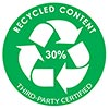 30% RECYCLED CONTENT - THIRD PARTY CERTIFIED