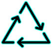recycling triangle (3 glowing black arrows)