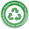 Recycle Reuce Reuse (3x, green seal)