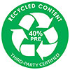 40% PRE-RECYCLED CONTENT - THIRD PARTY CERTIFIED