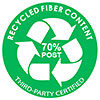 RECYCLED FIBER CONTENT 70% POST - THIRD PARTY CERTIFIED