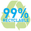 99% RECYCLABLE (lead batteries, Battery Council International)