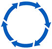 cycling wheel (6 blue arrows)