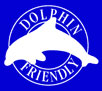 DOLPHIN FRIENDLY (white on blue)