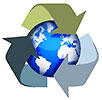 Earth inside of recycling symbol