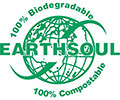 EARTHSOUL (logo): 100% Biodegradable 100% Compostable (IN)