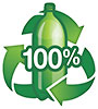 100% recycled plastic bottle (EcoGreen, CA)