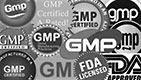 GMP logos (USDA, FDA, etc.)