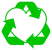 green recycling heart