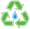 green recycling blue waterdrop