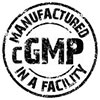 MANUFACTURED in a cGMP FACILITY (stamp)