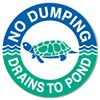 NO DUMPING - DRAINS TO POND