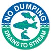 NO DUMPING - DRAINS TO STREAM
