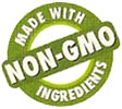 MADE WITH NON-GMO INGREDIENTS (green stamp)