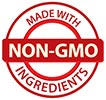 MADE WITH NON-GMO INGREDIENTS (red stamp)
