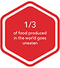 1/3 of food produced in the world goes uneated