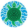 sea turtle with recycling motif