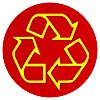 recycling yellow outline on red