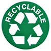 recyclable (green sticker)