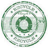 RECYCLE (3 green arrows, stamp)