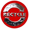RECYCLE (metal plate on red)