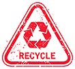 RECYCLE (red road sign)