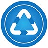 recycle white triangle on blue dot