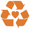 recycle with orange heart