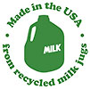 Made in the USA from recycled milk jugs (GreenToys)