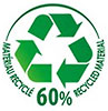 MATERIAU RECYCLE 60% RECYCLED MATERIAL