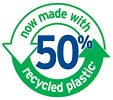 now made with 50% recycled plastic