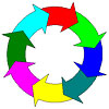 recycling circle (8 color arrows)