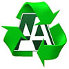 recycling sign with AA monogram