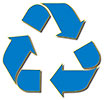 recycling (blue on gold)