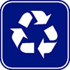 recycling blue roadsign