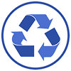 recycling dark-blue badge