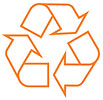 recycling orange outline