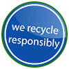 we recycle responsibly (statement seal)