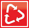 recycling triangle (white on red, framed - biz, PlanetARK, AU))