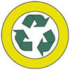 recycling (in yellow wheel)