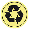 recykling black on yellow badge