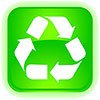 recycling green neon button